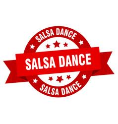 salsa dance ribbon salsa dance round red sign vector image