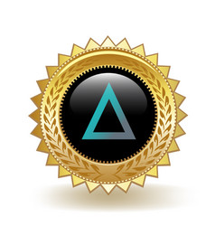 Salt cryptocurrency coin gold badge vector