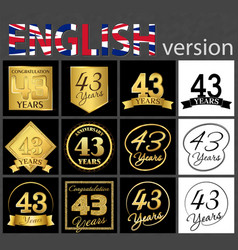 Set of number 43 templates vector