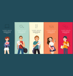 Set students with books and gadgets vector
