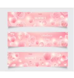 set three valentines day header designs vector image