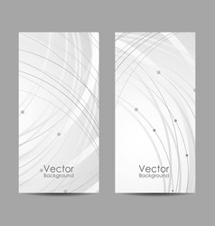 set vertical banners with curves and dots vector image