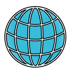 silhouette of colored pencils of world globe icon vector image vector image