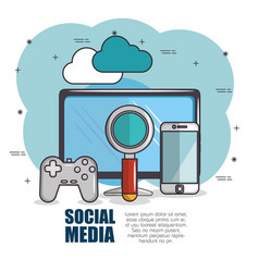 social media and network communication design vector image