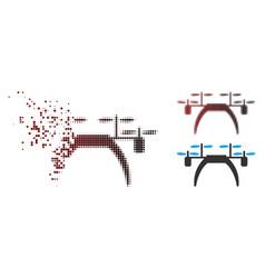 Sparkle pixel halftone quadcopter icon vector