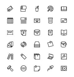 Stationery Line Icons 4 vector image