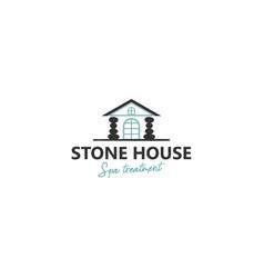 Stone house logo yoga studio and spa and beauty vector