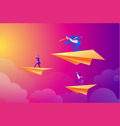 successful businessman flying on a paper airplane vector image