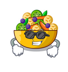 super cool cartoon bowl healthy fresh fruit salad vector image