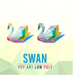 Swan animal pet pop art low poly line logo icon vector