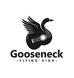 swan guitar logo design vector image