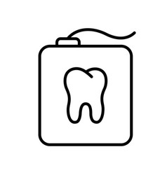 teeth floss in rectangular case with tooth shape vector image