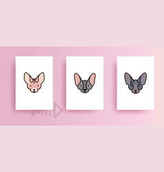 templates for design of cards with cats vector image