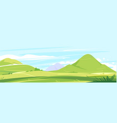 tourist trails in beautiful green mountains vector image