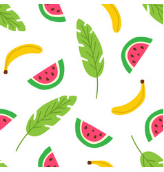 tropical fruits and leaves seamless pattern vector image