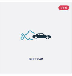 Two color drift car icon from sports concept vector