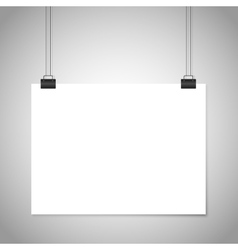 White blank paper hanging sign mockup vector