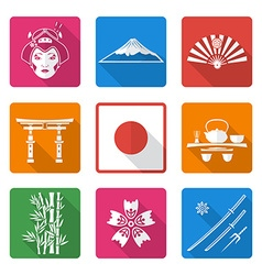 white solid flat style japan icons set vector image