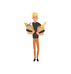young blond guy holding two paper bags vector image