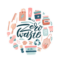 zero waste logo design template set no plastic vector image