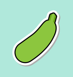 zucchini sticker on blue background colorful vector image