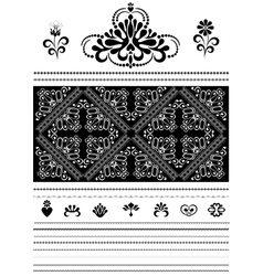 Calligraphic openwork border and ornaments for des vector image vector image