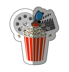 colorful sticker with popcorn cup with vector image vector image