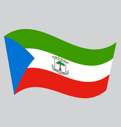 flag of equatorial guinea waving gray background vector image vector image