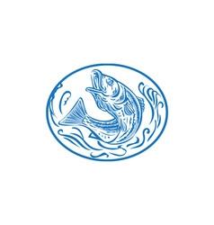 Rockfish Jumping Up Oval Drawing vector image vector image
