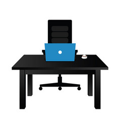 table office with laptop vector image
