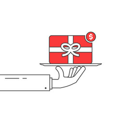 thin line hand holding red gift card vector image