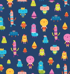 Abstract characters seamless pattern on blue vector image vector image
