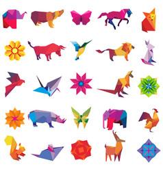 big set of animal origami figures vector image