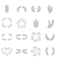 Ear corn icons set monochrome style vector image
