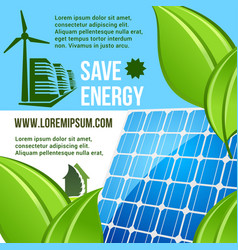 energy saving and green eco technology poster vector image
