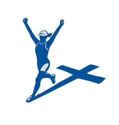 female marathon runner cross shadow vector image