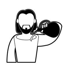 jesuschrist wine miracle cartoon vector image