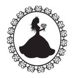 princess silhouette with flowers in vintage frame vector image