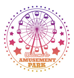 Amusement park welcome emblem logo isolated on vector