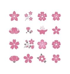 Cherry pink flower spring sakura blossom vector