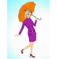 friendly woman holding an umbrella vector image