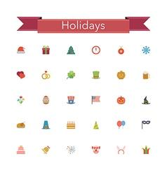 Holidays Flat Icons vector image