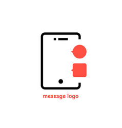 message logo with outline phone vector image vector image