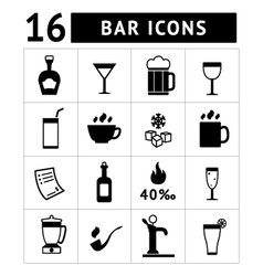 Set of bar drinks and beverages icons vector image
