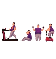 Fat man doing sport exercises isolated on white vector image