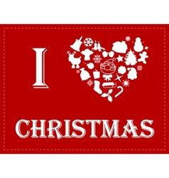 I love Christmas vector image vector image