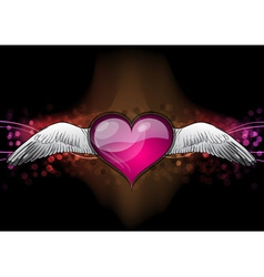 red heart on the dark background vector image