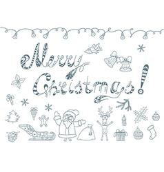 Set of Christmas Doodles Element vector image