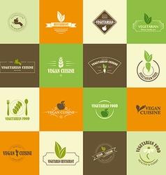 Set of vegan and vegetarian icons vector image