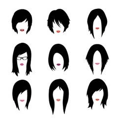 set of woman hipster style haircut glasses vector image